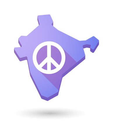 pacifist: Illustration of a long shadow India map icon with a peace sign