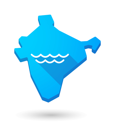 liquid state: Illustration of a long shadow India map icon with a water sign Illustration