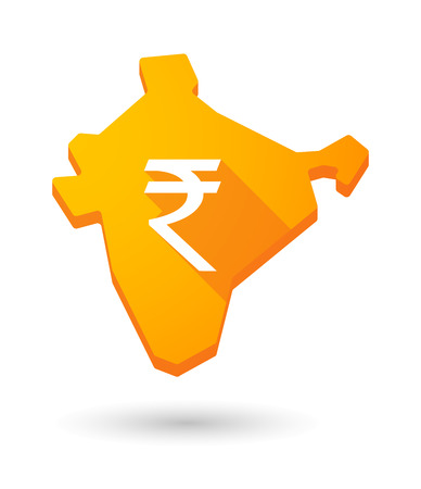 rupee: Illustration of a long shadow India map icon with a rupee sign