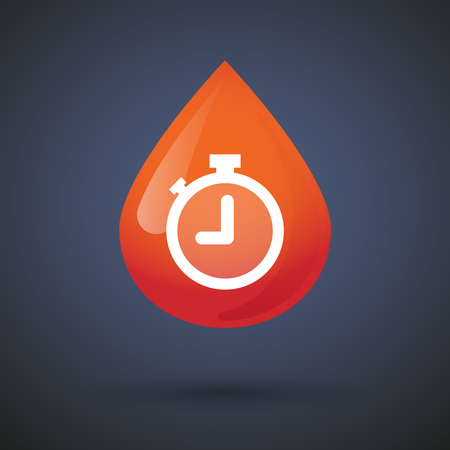 Illustration of a blood drop icon with a timer