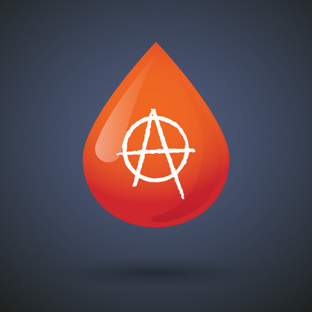 anarchist: Illustration of a blood drop icon with an anarchy sign
