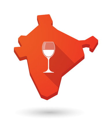 map wine: Illustration of a long shadow India map icon with a cup of wine