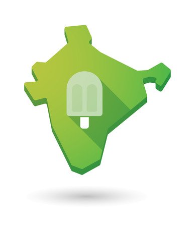sorbet: Illustration of a long shadow India map icon with an ice cream