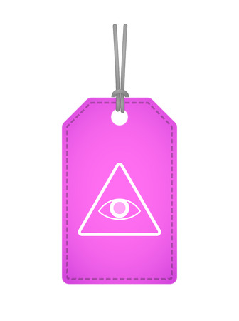 all seeing eye: Illustration of an isolated label icon with an all seeing eye
