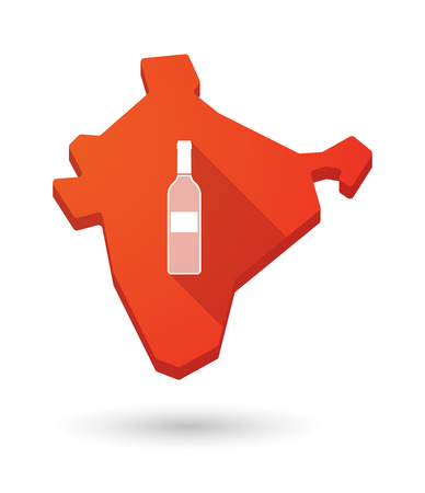 map wine: Illustration of a long shadow India map icon with a bottle of wine