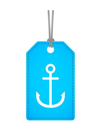 ancre marine: Illustration d'une ic�ne d'�tiquette isol� avec une ancre Illustration