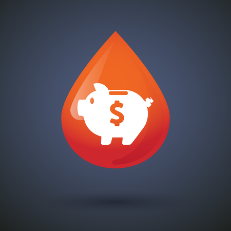 coin bank: Illustration of a blood drop icon with a piggy bank