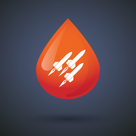 nuclear weapons: Illustration of a blood drop icon with missiles