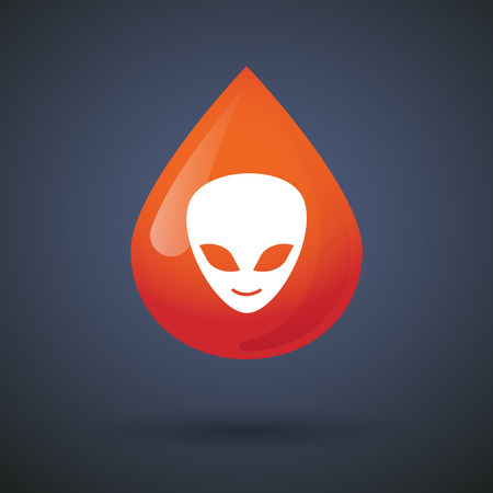 alien face: Illustration of a blood drop icon with an alien face Illustration