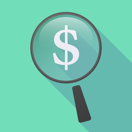 funding of science: Illustration of a long shadow magnifier icon with a dollar sign