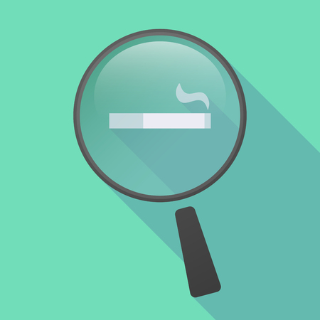 magnifying glass icon: Illustration of a long shadow magnifier icon with a cigarette Illustration