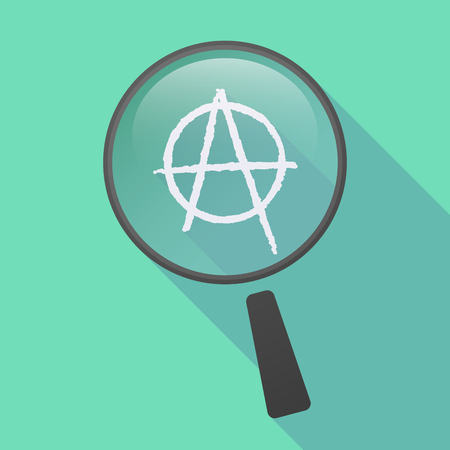anarchy: Illustration of a long shadow magnifier icon with an anarchy sign Illustration