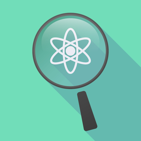 Illustration of a long shadow magnifier icon with an atom Illustration