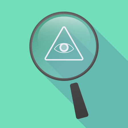 all seeing: Illustration of a long shadow magnifier icon with an all seeing eye