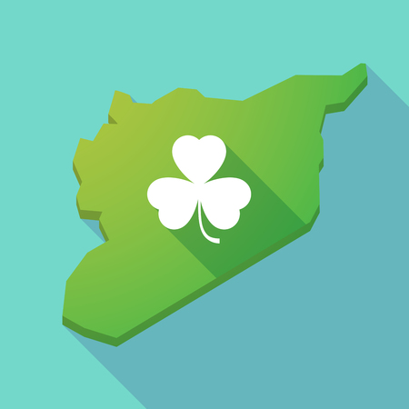 irish map: Illustration of a long shadow Syria map with a clover