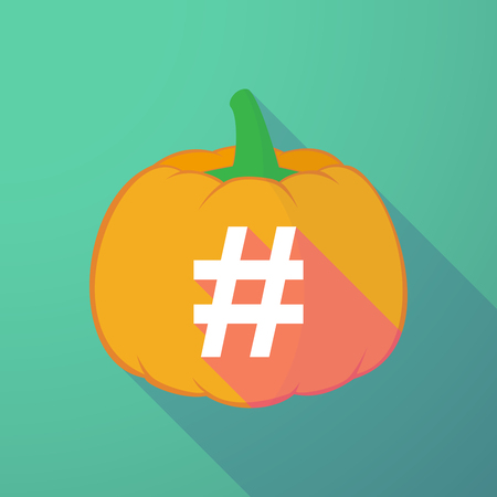 hash: Illustration of a long shadow halloween pumpkin with a hash tag