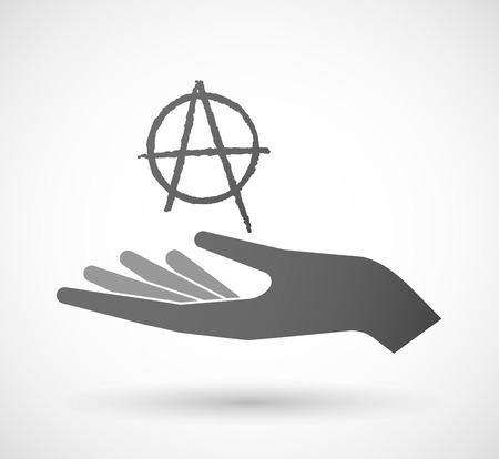 riot: Illustration of an isolated hand giving an anarchy sign