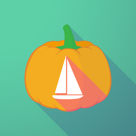 Illustration of a long shadow halloween pumpkin with a ship