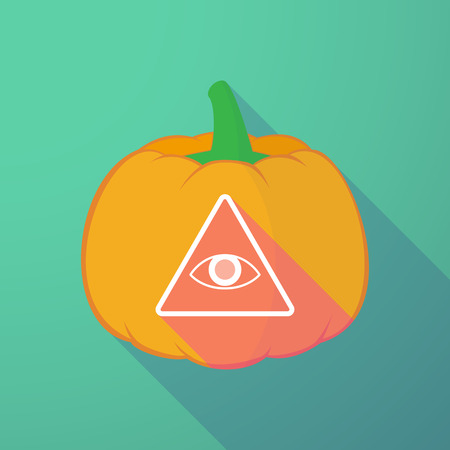 all seeing eye: Illustration of a long shadow halloween pumpkin with an all seeing eye