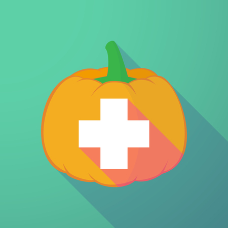 long night: Illustration of a long shadow halloween pumpkin with a pharmacy sign Illustration