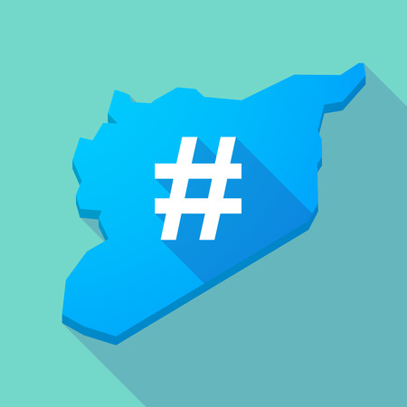 hash: Illustration of a long shadow Syria map with a hash tag
