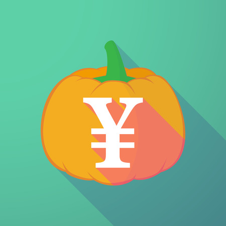 yen sign: Illustration of a long shadow halloween pumpkin with a yen sign Illustration