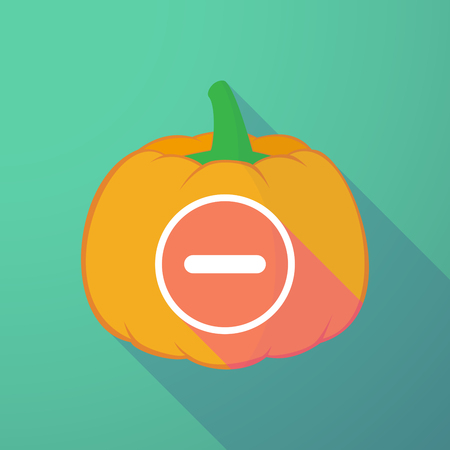 subtraction: Illustration of a long shadow halloween pumpkin with a subtraction sign