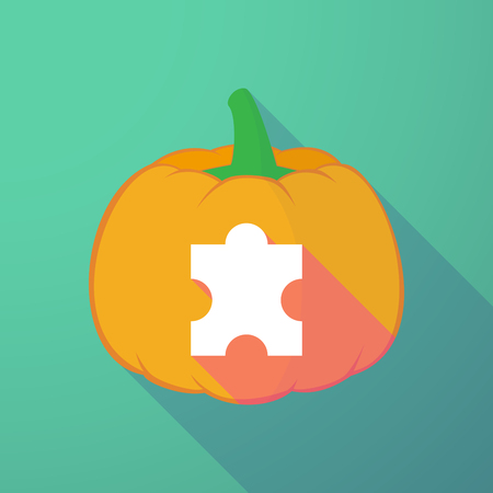 long night: Illustration of a long shadow halloween pumpkin with a puzzle piece Illustration