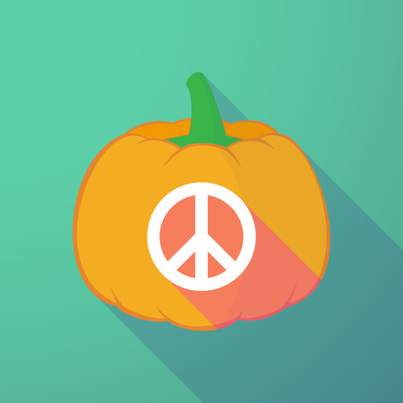 pacifist: Illustration of a long shadow halloween pumpkin with a peace sign Illustration