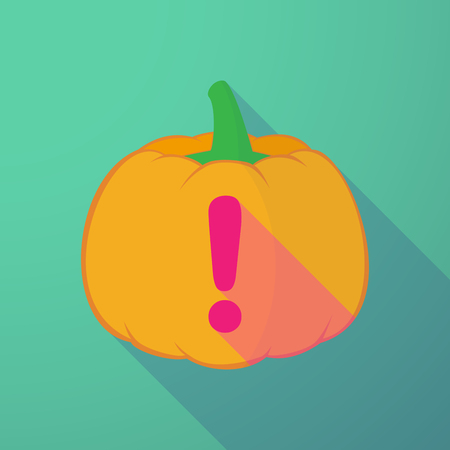 Illustration of a long shadow halloween pumpkin with an admiration sign Illustration