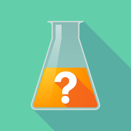 interrogation: Illustration of a long shadow chemical flask with a question sign