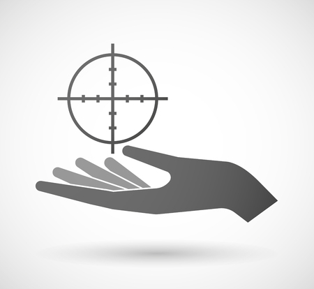 give and take: Illustration of an isolated hand giving a crosshair