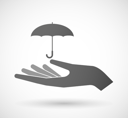 white person: Illustration of an isolated hand giving an umbrella