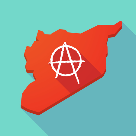 anarchist: Illustration of a long shadow Syria map with an anarchy sign