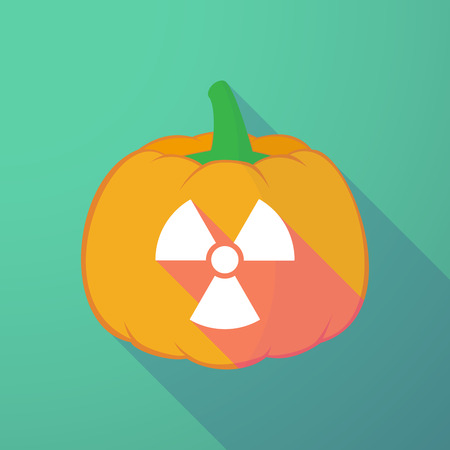 nuclear fear: Illustration of a long shadow halloween pumpkin with a radio activity sign