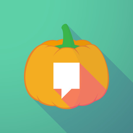 tooltip: Illustration of a long shadow halloween pumpkin with a tooltip Illustration