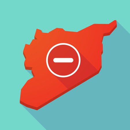 subtraction: Illustration of a long shadow Syria map with a subtraction sign