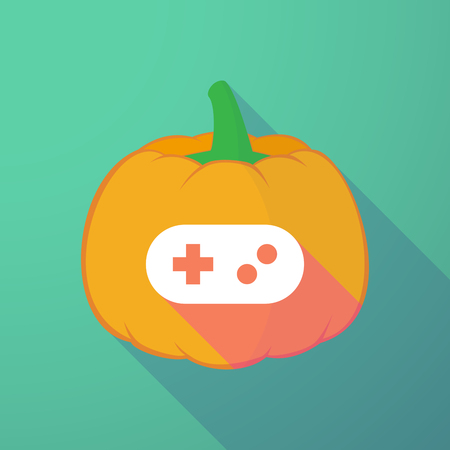 game pad: Illustration of a long shadow halloween pumpkin with a game pad Illustration