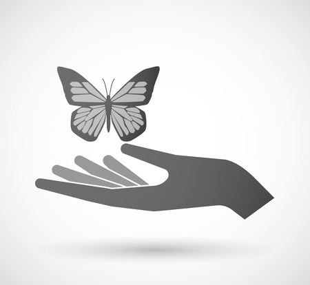 butterfly isolated: Illustration of an isolated hand giving a butterfly Illustration