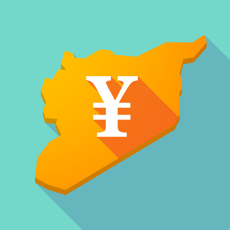 yen sign: Illustration of a long shadow Syria map with a yen sign