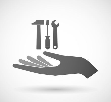 hand work: Illustration of an isolated hand giving a tool set