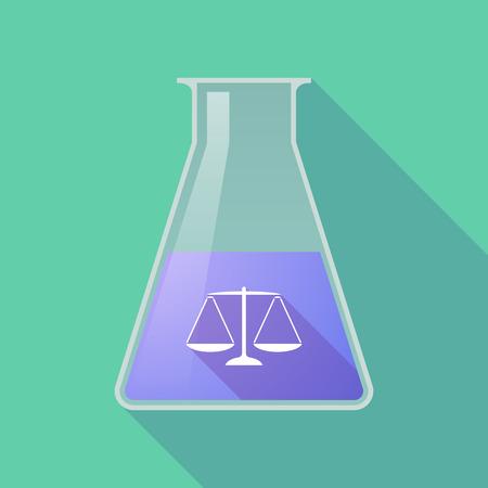 balanza de laboratorio: Ilustración de un frasco químico larga sombra con un signo de escala de peso justicia