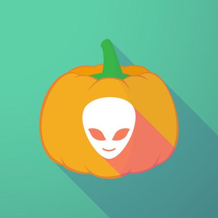 creepy alien: Illustration of a long shadow halloween pumpkin with an alien face