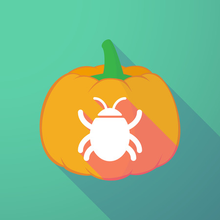 computer worm: Illustration of a long shadow halloween pumpkin with a bug