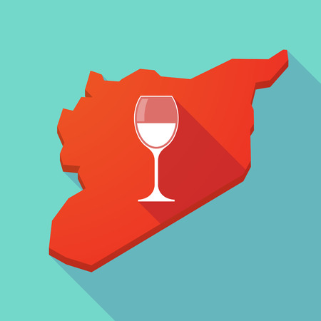 map wine: Illustration of a long shadow Syria map with a cup of wine