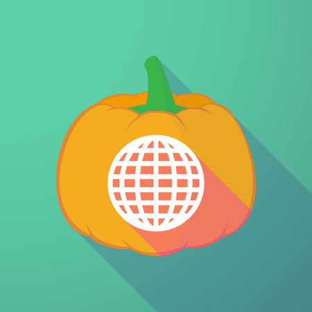 long night: Illustration of a long shadow halloween pumpkin with a world globe