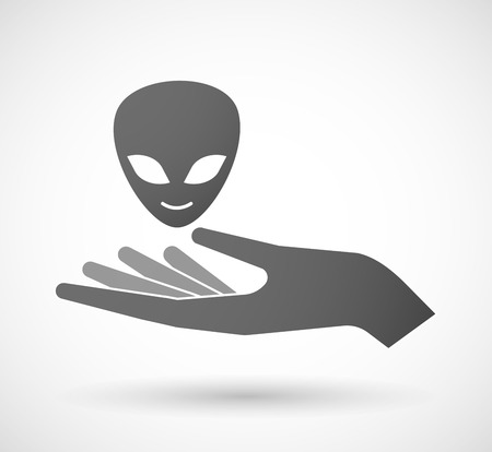 alien face: Illustration of an isolated hand giving an alien face Illustration