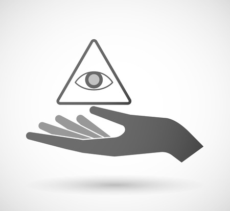 all seeing eye: Illustration of an isolated hand giving an all seeing eye Illustration