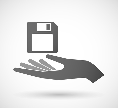 charity drive: Illustration of an isolated hand giving a floppy disk