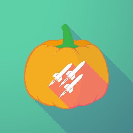 nuclear fear: Illustration of a long shadow halloween pumpkin with missiles